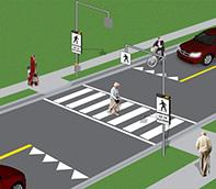 Pedestrian crossover type 3 with flashing lights and overhead signs